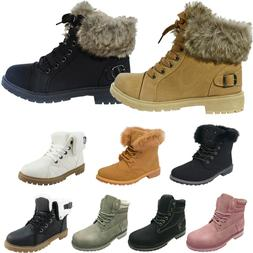 LADIES WOMENS ARMY COMBAT FLAT GRIP SOLE FUR LINED WINTER AN