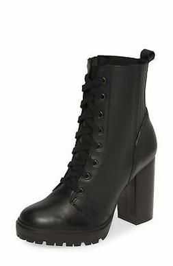 Steve Madden Lead Black Leather Booties Lace up Lug Sole Com