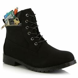 Leather Boots with Zippered Pocket Combat Booties Ankle Low