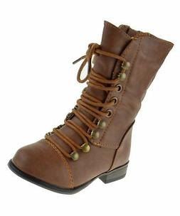 Forever Link Legend-15KA Baby Girls Combat Lace Up Boots Tan