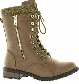 Forever Link Womens Mango-31 Taupe Knit Combat Boots