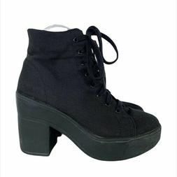 WILD DIVA Lounge Black Canvas Fabric Upper Lace Up Heeled Co