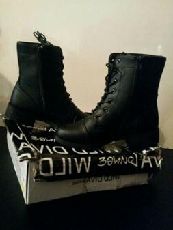 Wild Diva Lounge Black Lace Up Combat Boots Size 7 New in Bo