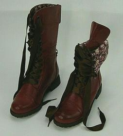 Wild Diva Lounge  Timberly 43 Floral Cuff Lace Up Combat Boo