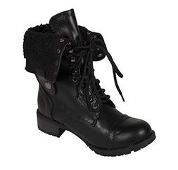 SODA Lustacious Women's Mid-Calf Lace Up Military Combat Fol