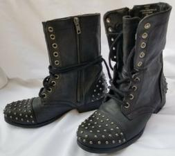Madden Gir Studded Moto Combat Boots Mid Calf Laceup & Side