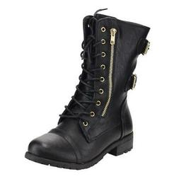 Mango-71 Forever Round Toe Lace Up Side Zip Low Heel Combat