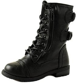 Forever Mango 61K Little Kids Combat Lace Up Boots Black 9
