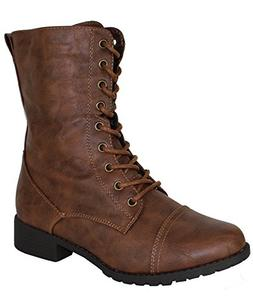 Forever Link Womens Mango Round Toe Military Lace Up Knit An