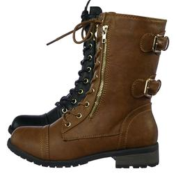 Mango71 Women's Military Lace Up Combat Boots w Lug Sole & M