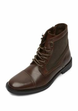 KENNETH COLE REACTION MASYN MEN'S BROWN LEATHER COMBAT ANKLE