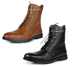 Men High Top Combat Style Ankle Boots Cap Toe Lace Up Fashio