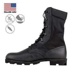 Men's Black Military Combat Boots with Vulcanized Rubber Sol