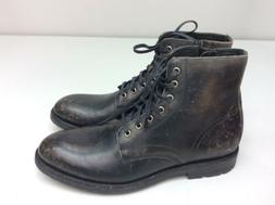 FRYE Men's Bowery Lace Up Combat Boot Black Stonewash Size 1