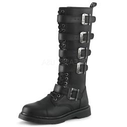 DEMONIA Men's Goth Combat Lace Up Adjustable Buckle Straps B