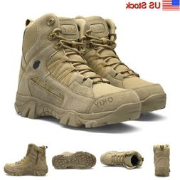 Men's Military Tactical Boots Side-Zip Combat Army Shoes Hik