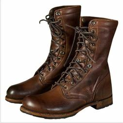 Men's Motorcycle Boots Leather Combat Boot Military Retro Pu