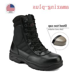 Men's Steel Toe Work Boots Side Zip Military Tactical Army C