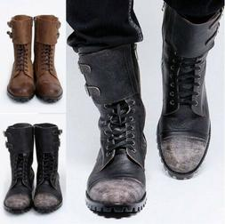 Men's Vintage Lace Up Boots Motorcycle Punk Combat Military