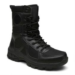 Mens Real Leather Combat Army Military Boots Lace Up Outdoor