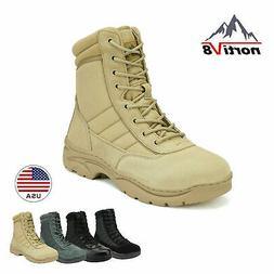NORTIV 8 Men's Zip Military Tactical Work Boots Leather Moto