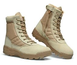 Mens womens Military Tactical Canvas leather boots Army Comb