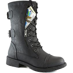 Women's Military Up Buckle Combat Boots Mid Knee High Exclus