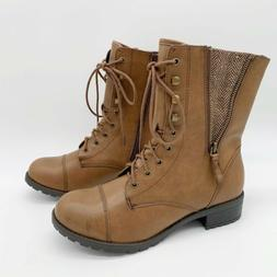 SODA Military Combat Boots Brown Faux Leather Fold Down Side