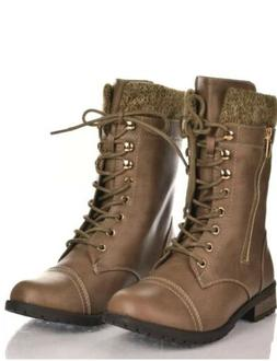 Military Combat Boots Lace Up Knit Ankle Cuff In Tan   Side