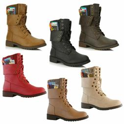 DailyShoes Military Combat Boots Mid Calf Fold-Down Sweater