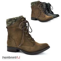 Military Combat Knit Cuff Ankle Booties Faux Leather Lace Up