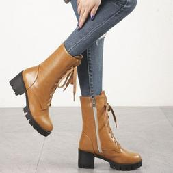 Military Combat Lace up Riding Ankle Boots Womens Low Heels