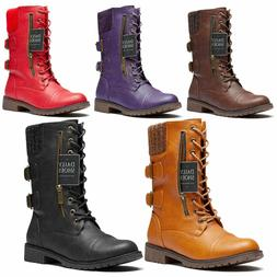 DailyShoes Military Lace Up Combat Boots Mid Calf Card Side