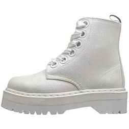Dr.Martens Womens Molly Glitter Synthetic White Boots 8.5 US