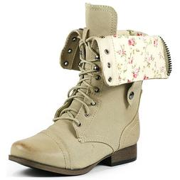 Natural Beige Floral Fold Down Mid Calf Lace Up Military Com