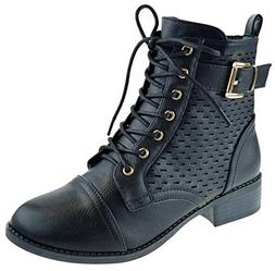 Top Moda Nelson 1 Womens Zipper Military Lace Up Combat Boot