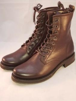 New $278- FRYE BROWN LEATHER LACE UP VERONICA COMBAT BOOTS W