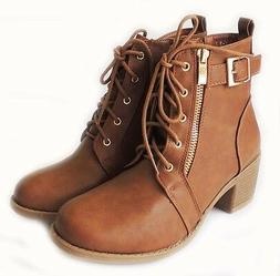 NEW FASHION WOMEN PLATFORM CHUNKY HEEL COMBAT ANKLE BOOTS LA