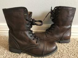 New STEVE MADDEN Troopa Dark Brown Combat Lace Up Leather Bo