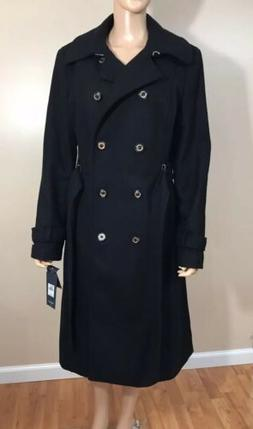 New TOMMY HILFIGER  WOMAN BLACK LONG WOOL COAT L