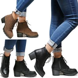New Women Combat Platform Lace Up Lug Sole Chunky Heel Ankle
