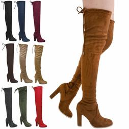 New Women Fashion Stretchy Over Knee Thigh High Combat Heel