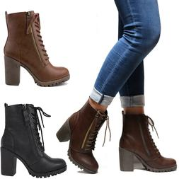 New Women Lace Up Combat Lug Sole Chunky Heel Ankle Boots Bo