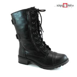 New Soda Women Military Combat Mid Calf Riding Boots Zipper