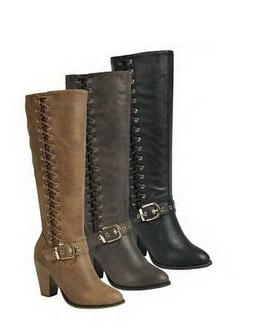 New Women's Chunky Heel Knee High Combat Boots Strappy Side