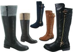 NEW Women's Fashion Low Heel Combat Riding Zip Knee High Boo
