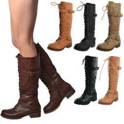 New Women's Knee High Miliary Boots Faux Leather Lace Up Com