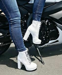 New Women's Lace Up Combat Ankle Booties Boots Low Lug Sole
