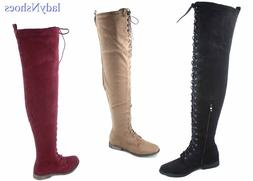 NEW Women's Low Heel Lace Up Over The Knee Thigh High Combat