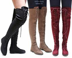 New Women Ti45 Military Combat Over the Knee Lace Up Thigh H